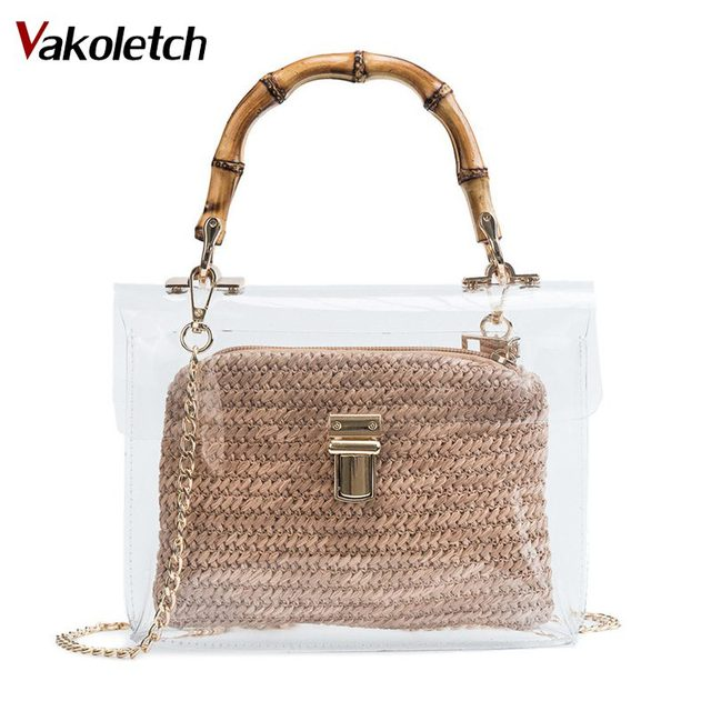 871480aa68 US $12.96 40% OFF|2019 Handbag With Bamboo Handle Summer Small Chain  Crossbody Bags Ladies Straw Beach Bags Transparent Bag For Women KL477-in  ...
