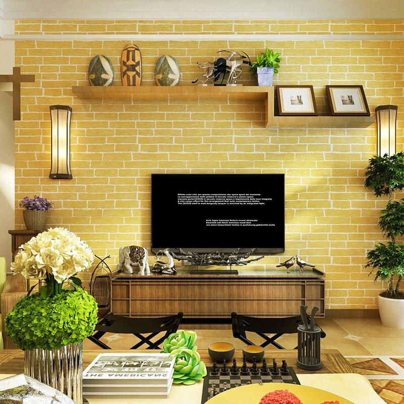 0.53x10 m Yellow Brick Pattern Non-woven Wallpaper Living Room Restaurant TV Wall Kids Room Wedding Wallpaper goodbye yellow brick road cd