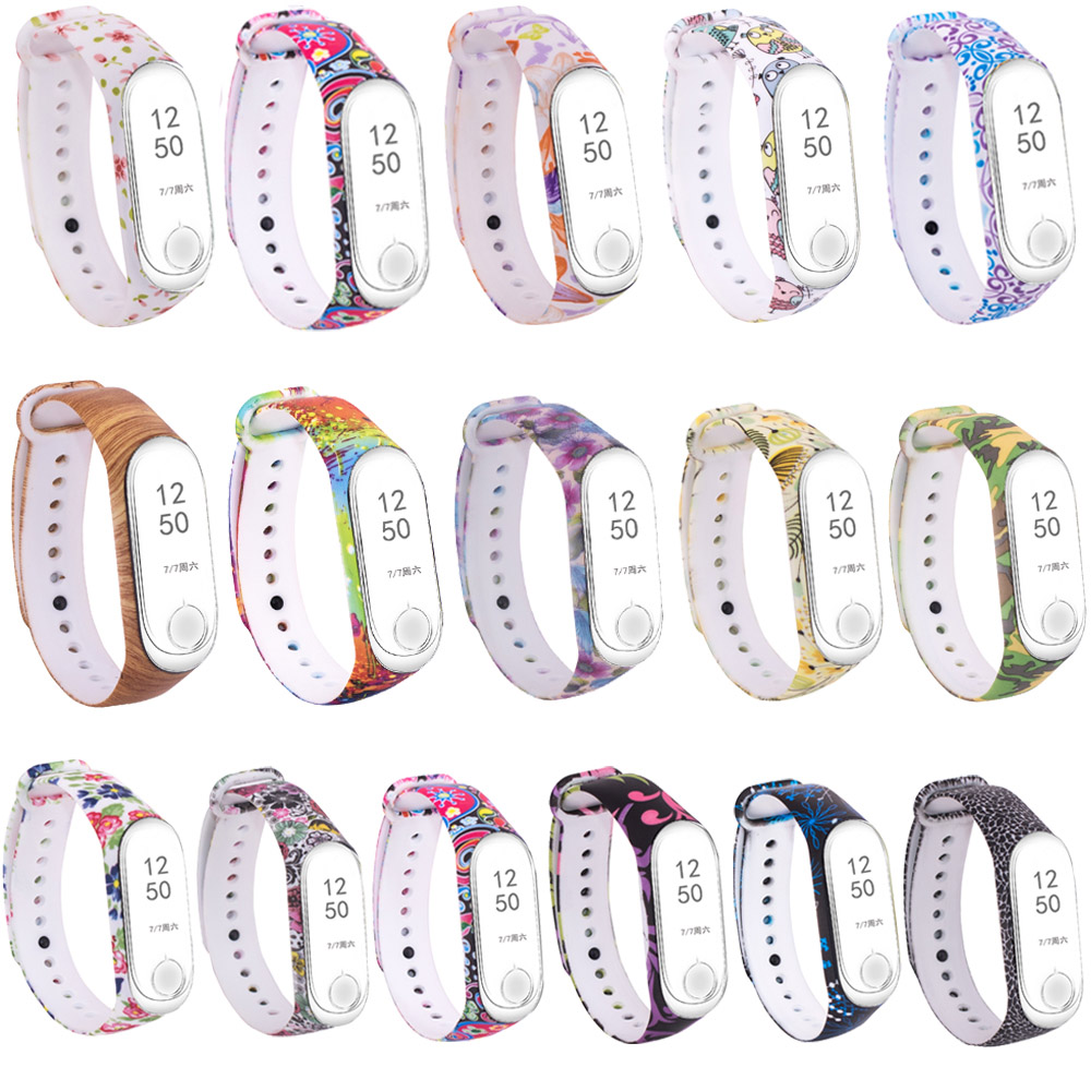 Mi Band 3 Strap Retro Floral Pattern Replacement Strap Silicon Waterproof Clock Watches Watch Band For Xiaomi Mi Band 4 Bracelet