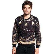 Autumn winter New Versa Hip-hop men women stars gold chain 3d print pullovers Galaxy Sweatshirts Hoodies Tops Drop Shipping
