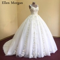 Elegant Lace Ball Gowns Wedding Dresses for Women 2018 Sexy Sweetheart Puffy Lace Applique Chapel Train Real Photos Bridal Gowns