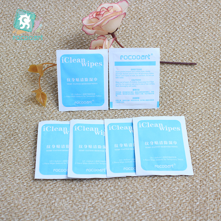Rocooart 5 Pieces Tattoo Remover Cleaning Wipes Removal Pads For Watercolor Temporary Fake Tattoo Smell Comfortable Eco-Friendly