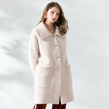 2018 Thick Long Section Large Lapel Knit Woolen Coat IImitation Velvet Casual Loose Solid Color Comfortable Woolen Coat недорого