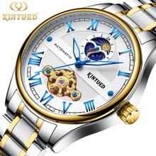 KINYUED Mens Mechanical Self Wind Watches Watch Men Luxury Waterproof Moon Phase Hollow Movement Automatic Montre Clock