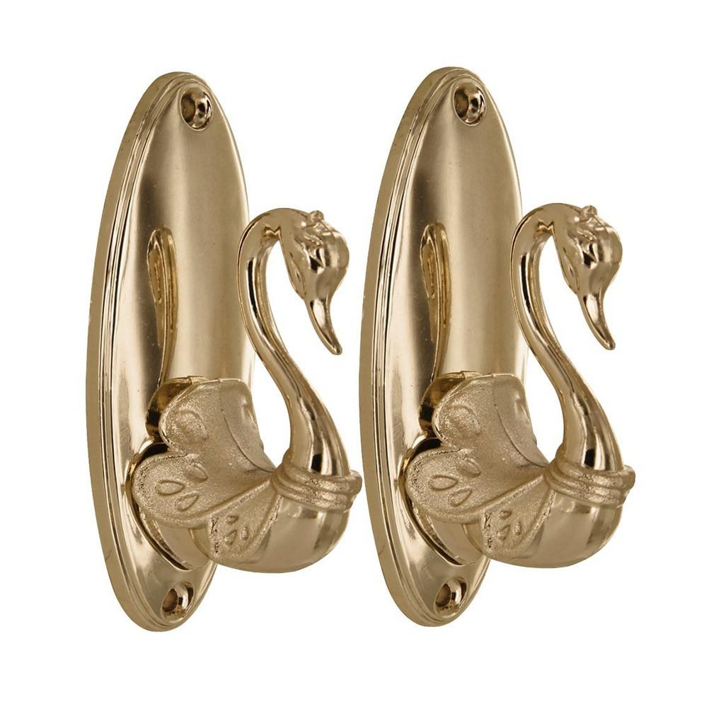 Pair of vintage swan style drapery curtain holdbacks for Decorative holdbacks