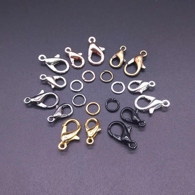 30Pcs לובסטר אבזם וו/100 Pcs פתוח מעגל קפיצת טבעות ממצאי תכשיטי DIY ביצוע שרשרת צמיד אבזם תכשיטים אבזרים
