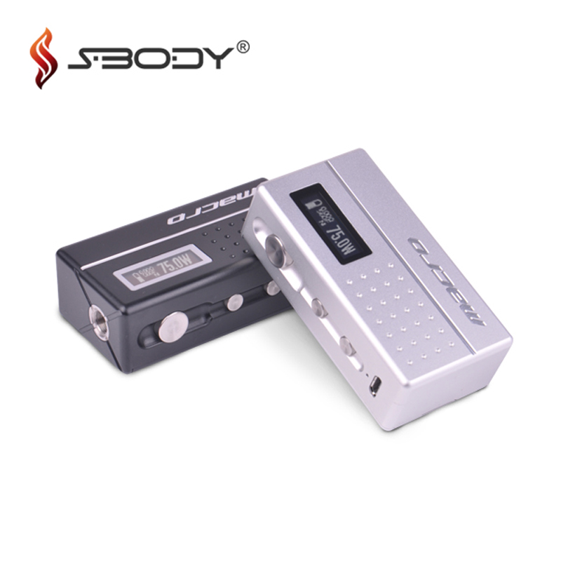 Authentic Sbody Macro DNA75 Box Mod Evolv 75w Chip Vape Box Mod Fit 18650 Battery RDA RTA Tank E Cigarettes TC Vaporizer Hot e cigarette mod aspire pegasus 70w tc box mod 0 86 inch display vaping mod fit rta rdta vape tank without 18650 battery mod