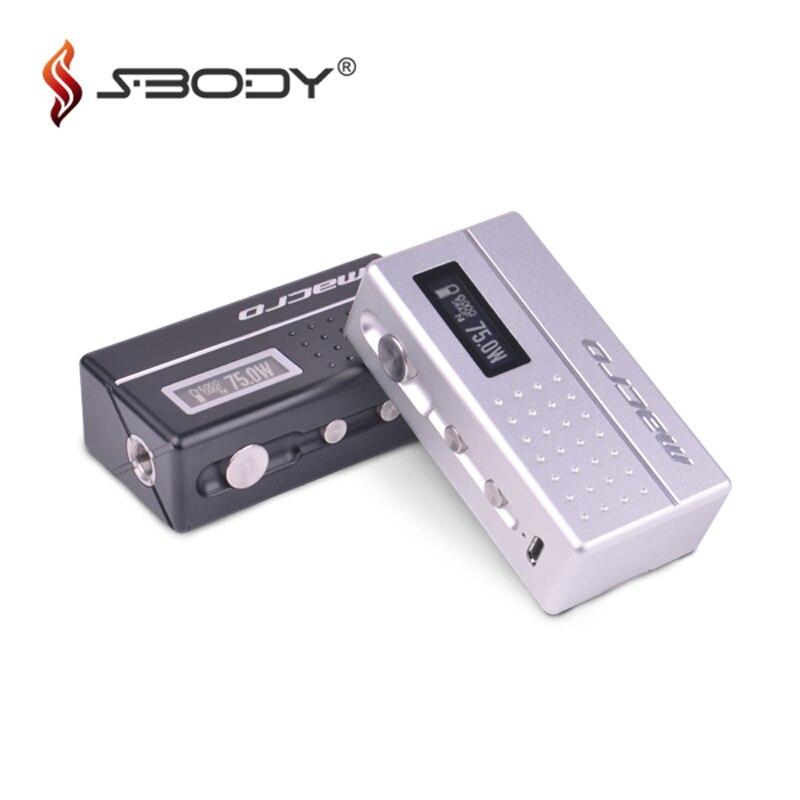 Authentic Sbody Macro DNA75 Box Mod Evolv 75w Chip Vape Box Mod Fit 18650 Battery RDA RTA Tank E Cigarettes TC Vaporizer Hot