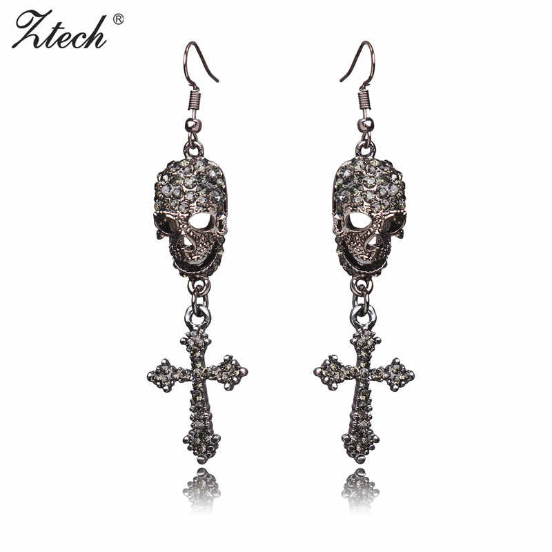 Ztech Rock Punk Gothic Vintage Rhinestones Jewelry Cross Skeleton Drop Earrings For Women Brinco Masculino Halloween Gifts