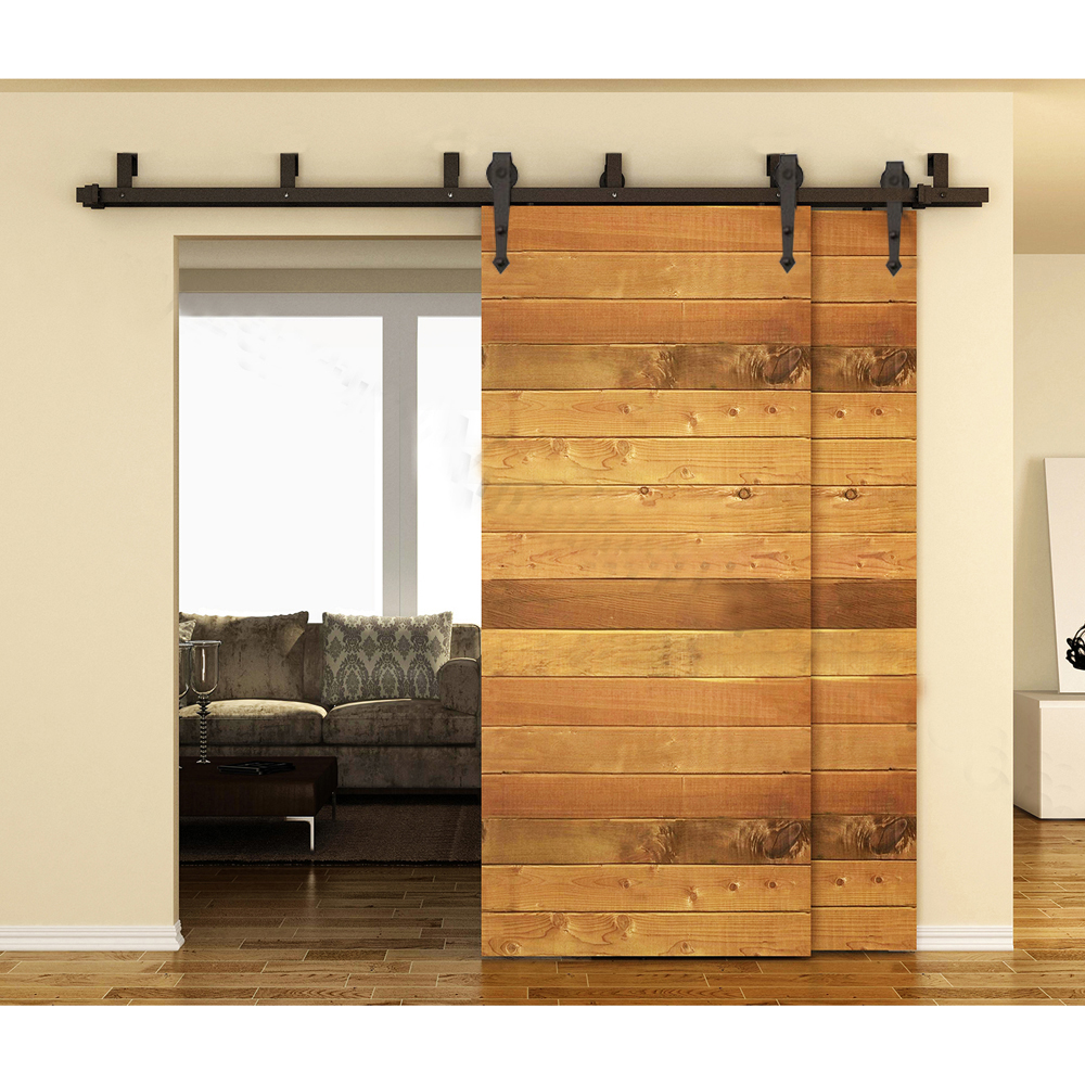10 16FT Interior Barn Door Kits Sliding Rustic Wood Hardware Steel Country  Arrow Style Black Barn Door Hardware Track Kits