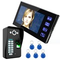 7 inch color Video Intercom Doorbell Camera Video Monitor Fingerprint Password Access Card Night Vision HD 1000 Line F1615A