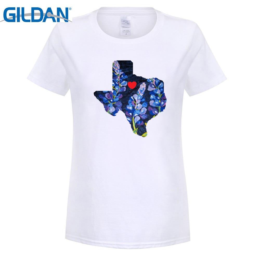 GILDAN fashion brand t shirt Women bluebonnet i love texas state map short sleeve T Shirt White