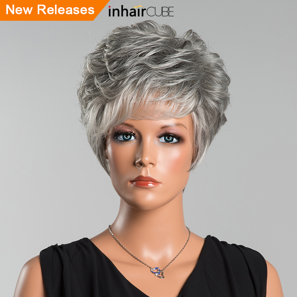 Inhair Cube 8 Inch Synthetic Blend Hair Natural Wave Short Wigs Multilayered Fluffy Medium Size Elastic Breathable Wig Cap