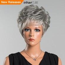 Inhair Cube 8 дюймов синтетический смесь волос естественная волна короткие парики Многослойные пушистые Средний размер эластичный дышащий парик крышка