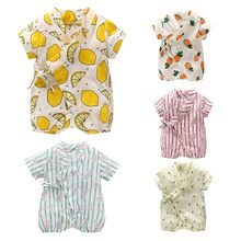 Floral Japanese Kids clothes Kimono Summer Baby clothing Girls Boys Rompers Cotton Casual Tracksuit Infants Jumpsuits(China)
