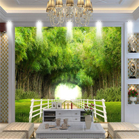 New Custom 3D Wall Murals Bamboo Forest Fence Shade Road Landscape Wallpaper Fresh And Natural Wall