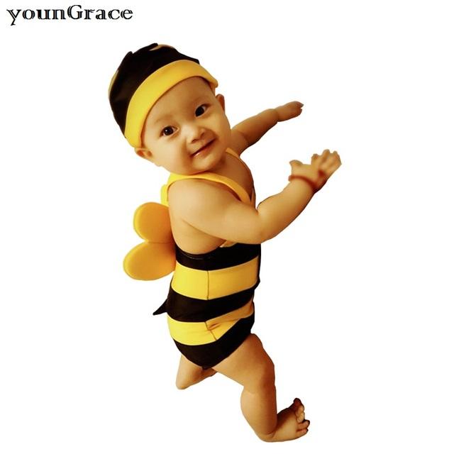 2016 New Retail bebés de los uno-pedazos traje de baño verano marca bebés abeja diseño del traje de baño con sombrero para bebés de bañador del juego, C227