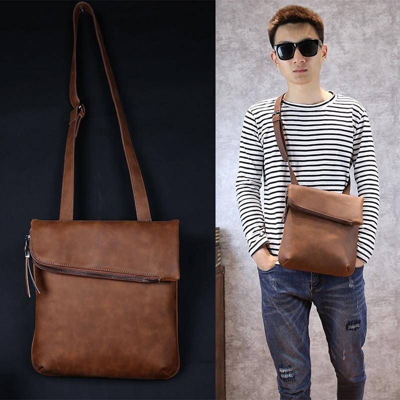 ea663fea8d New Fashion Business Men Crazy Horse pu Leather Bag Leisure Men Messenger  Bags Vintage Brown Men s Shoulder Crossbody Bag PX067-in Crossbody Bags  from ...