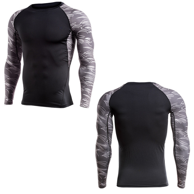 39f5fc7e Men Compression T-Shirt Long Sleeves Gyms Fitness Clothing Crossfit Tops Muscle  fit Mens T Shirts MMA M-4XL