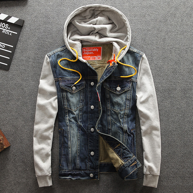 Spring Autumn Fashion Mens Jackets Top Quality Spliced Sleeve Denim Jackets Men Hooded Coat Brand Design Classical Jeans Jacket
