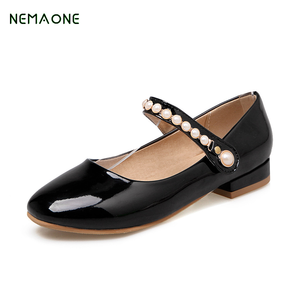 NEMAONE 2018 convenient women pumps party sweet casual buckle strap round toe large size concise thick heels spring shoes xexy small square toe medium heels natural leather women shoe spring autumn buckle strap dance party sweet platform women pumps