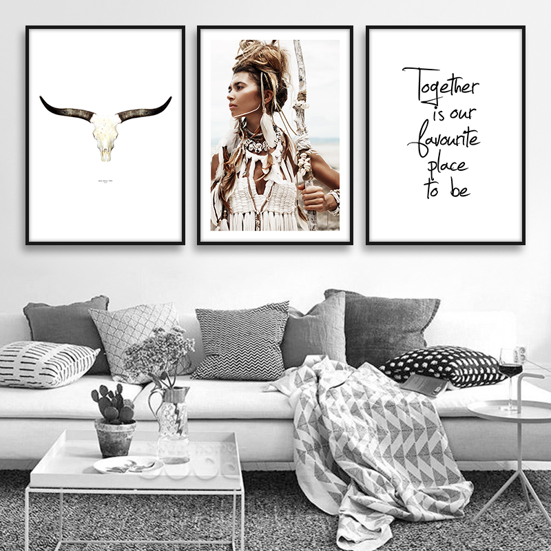 American Native Indian Girl Feather Wal Art Canvas Painting Posters And Prints Bohemia Style Decoration Pictures For Living Room(China)