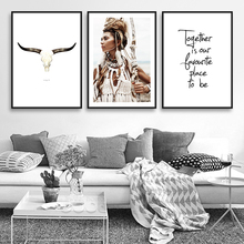American Native Indian Girl Feather Wal Art Canvas Painting Posters And Prints Bohemia Style Decoration Pictures For Living Room