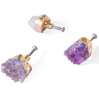Natural Amethyst quartz handle Extravagant Naturalism Crystal Single hole Knob Brass Grip for Cabinet Pulls Furniture Hardware