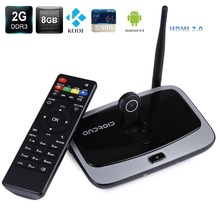 Q7 Quad Core Android 4.4 Bluetooth Full HD 1080 P Android TV caja de 2 GB 8 GB con Antena WiFi 2MP Cámara Micrófono Soporte TV caja