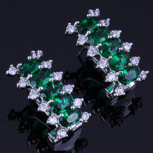 Prominent Rectangle Green Cubic Zirconia White CZ 925 Sterling Silver Clip Hoop Huggie Earrings For Women V0916