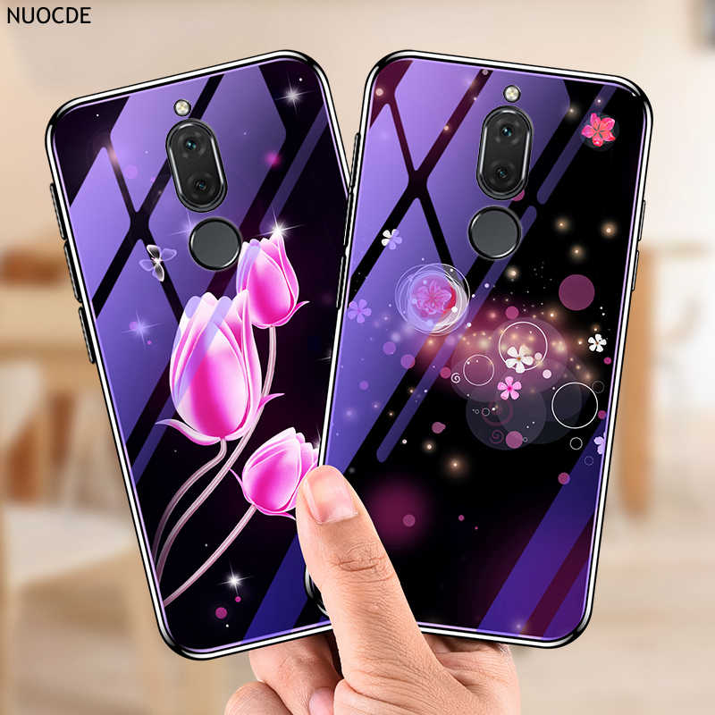 Blue Light Phone Case For Huawei Mate 10 Lite P20 Full Protective Flower Silicon & Tempered Glass Cover For Huawei Nova 2i 3i 3