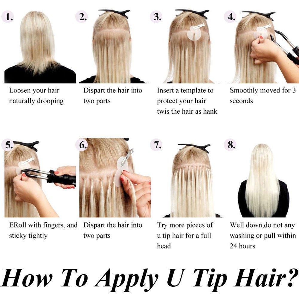 Neitsi Straight Indian Keratin Human Fusion Hair Negle U Tip 100% - Menneskehår (hvid) - Foto 6