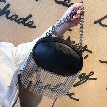 Punk Style Ladies Bag PVC Leather Handbag With Chain And Tassel Wallet Ladies Shoulder Bag Small Crossbody Bag Chain chevron stitch pvc chain crossbody bag