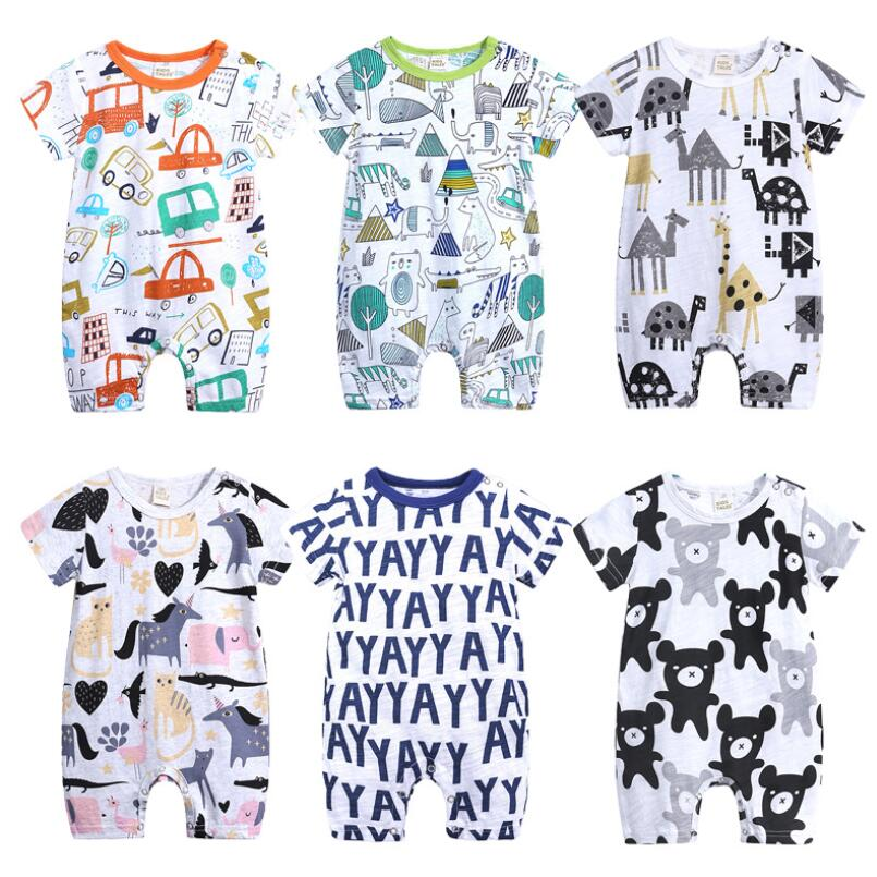 Summer Newborn Baby Boy Girl   Romper   Short Sleeve Jumpsuit Cartoon Printed Cotton Outfits Infant Pajamas clothing
