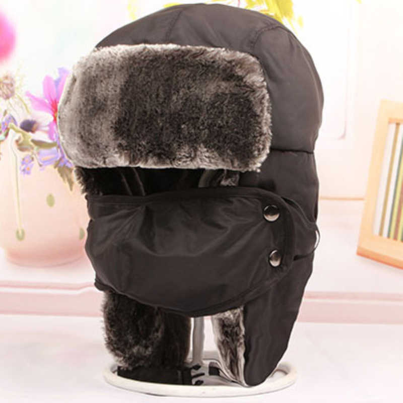... HT2117 Children Bomber Hats Trapper Caps Thick Warm Winter Fur Hats  with Mask Boys Girls Earflap ... 37a86c85c9d0