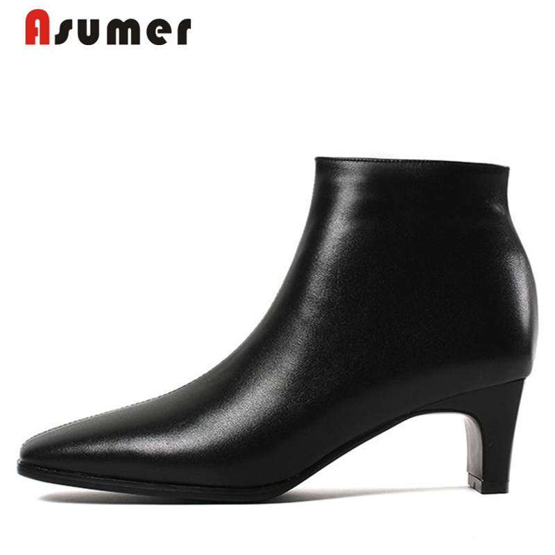 все цены на ASUMER 2018 lady hot sale square toe med heels boots simple high quanlity genuine leather boots fashion hoof heels ankle boots