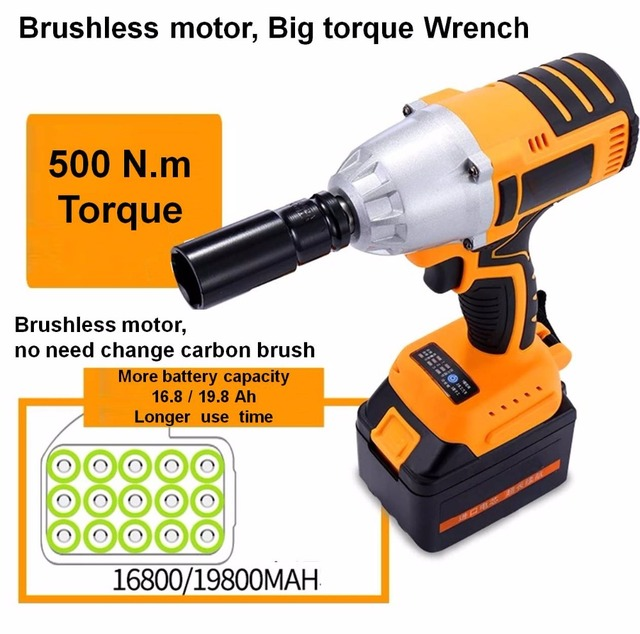500n M Torque 3200r Min Lithium Battery Brushless Motor Electric Impact Wrench Cordless Socket Drill Car Tyre Wheel