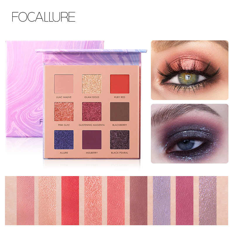 FOCALLURE อายแชโดว์ Charming 9 สี Make up Palette Matte Shimmer Pigmented Eyeshadow Palette