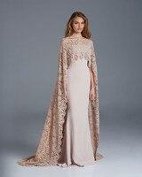 Muslim Sonam Kapoor in Paolo Sebastian Long Lace Arabic Prom Formal Gown Dubai Kaftan Cape Islamic Evening Vestidos De Soir