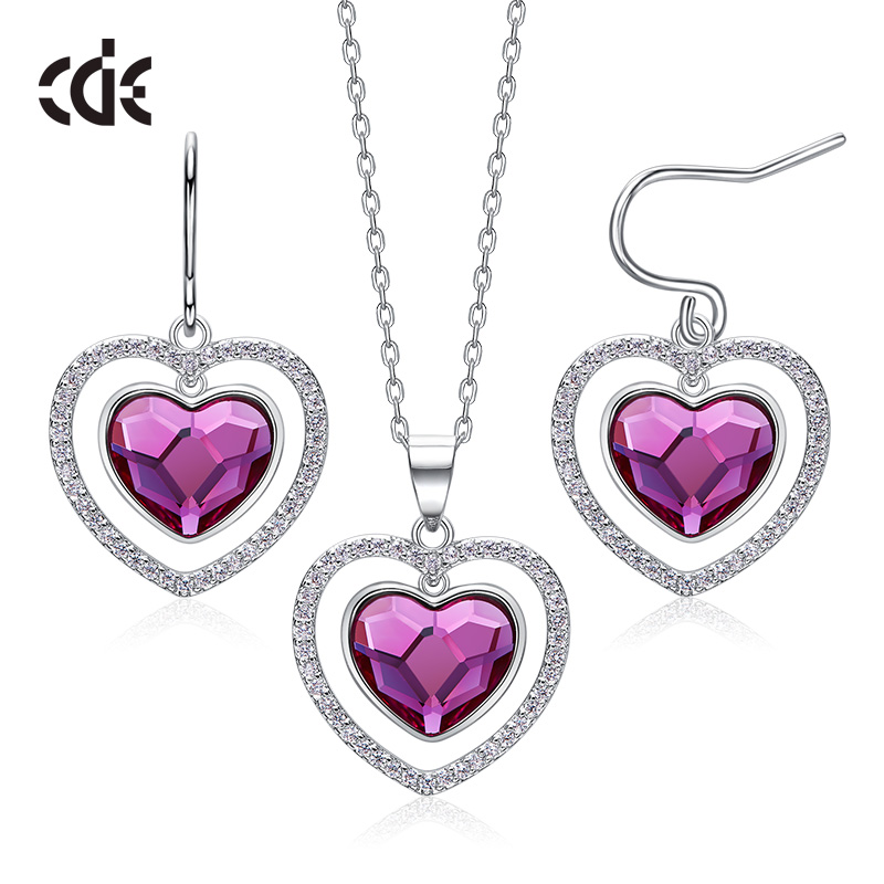 CDE 925 Sterling Silver Jewelry Set For Women Embellished with crystals from Swarovski Heart Jewelry Elegant
