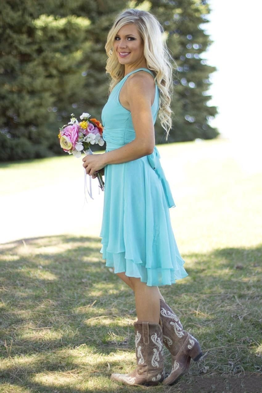 Cheap Country Style Short Sky Blue Pink Coral Bridesmaid Dresses ...