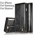 Genuíno couro de telefone celular carteira bolsa capa case para apple iphone se 5 5S 7 6 6 s plus samsung galaxy s6 s7 edge plus phone case