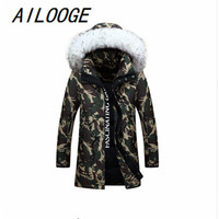 2016 New Winter Jacket Men S Fashion Camouflage Pattern Long Jacket Thickening Casual Hooded Fur Collar
