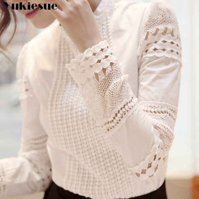 New Women Blouses Slim Bottoming Long-sleeved White Shirt Lace Hook Flower Hollow Plus Size S-5XL 1