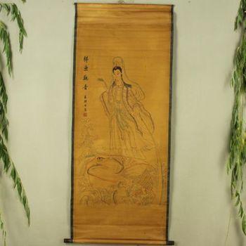 Exquisite Chinese Imitation Antique collection ancient  Avalokitesvara painting
