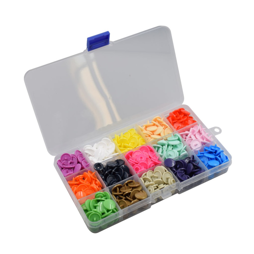 150 Sets 10-Color Size 16 T3 No-Sew Plastic Snap Button Fastener