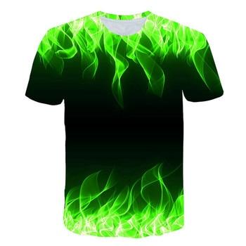 3 d short-sleeved green flame cool T-shirt colorful flame young men /women T shirt blue fire horse feyenoord dracarys ajax kiax