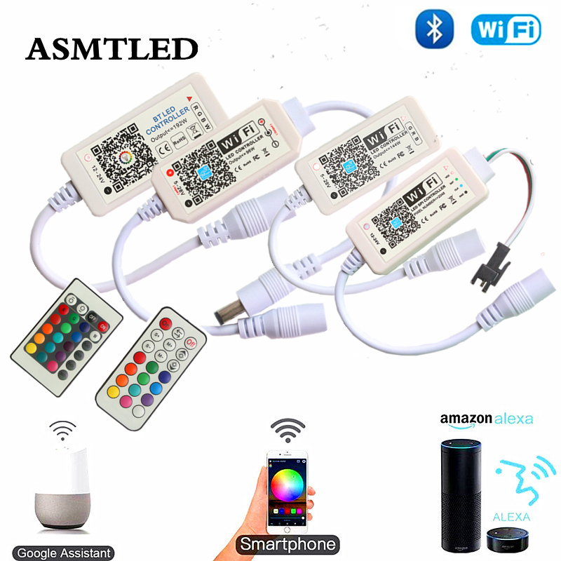 IOS Android Phone APP Amazon Alexa Google Assistant Voice Control Single Color RGB RGBW Pixel Mini Bluetooth WiFi LED Controller