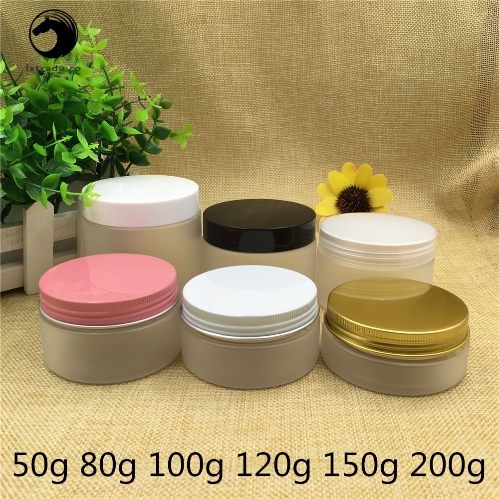 Free Shipping 50 80 100 120 150 200 g Empty Frosted Plastic  Bottles Jar Tank Pot Gold Pink Aluminum Cap Cosmetic Containers
