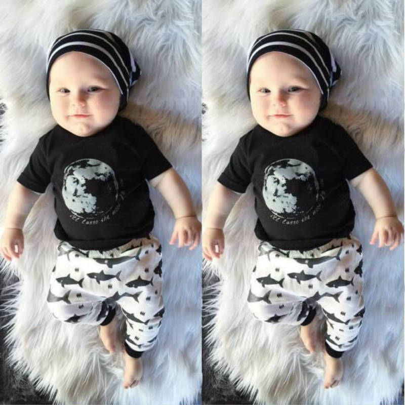 Clothing Sets Pants Newborn Baby Girl Clothing Infant 2pcs Suit Reasonable Price New 2019 Summer Baby Boy Clothes Cartoon Cotton Printed Moon T-shirt Boys' Baby Clothing